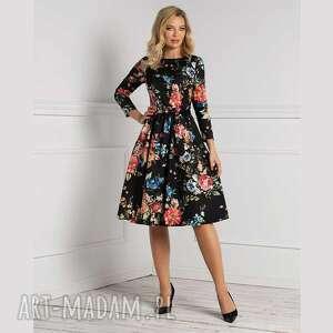 sukienka marie 3/4 midi hiacynta, jesień2020, jesienna sukienka, kwiatowy wzór