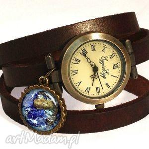 ziemia - zegarek bransoletka na skórzanym pasku egginegg, prezent