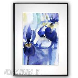 grafika w ramie z passe-partout latające kwiaty 60x80, irysy, kwiatami