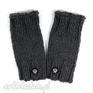 mitenki krótkie - ciemnoszare - mitenki, rękawiczki, zima, dziergane, ręka