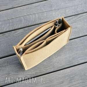 ręczne wykonanie torebki organizer - średnia wielkość beżowy