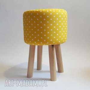 ręcznie zrobione pufy pufa żółte serduszka 2