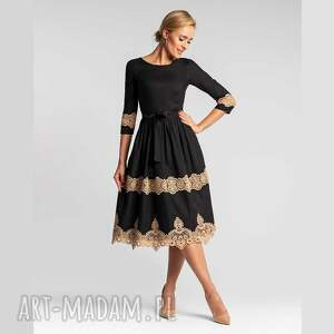 sukienka galena total midi faustina, wieczorowa, gipiura, bawełniana