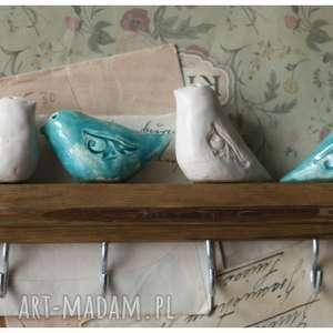Wieszak w dwubarwne ptaki II, ceramika, ptak