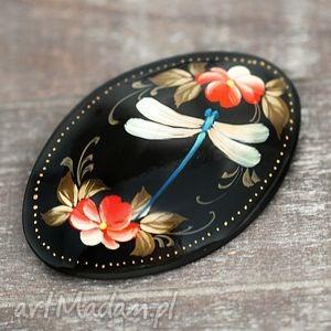 ♥ręcznie malowana drewniana broszka♥ - ważka, artysta