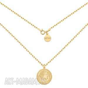 sotho złoty masywny łańcuszek z dużą monetą