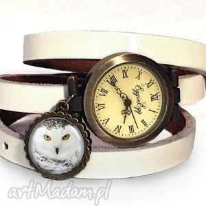 hedwiga - zegarek bransoletka na skórzanym pasku egginegg, biały