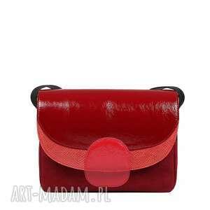 ręcznie robione na ramię czerwona torebka ze skóry naturalnej słoń torbalski rainbow