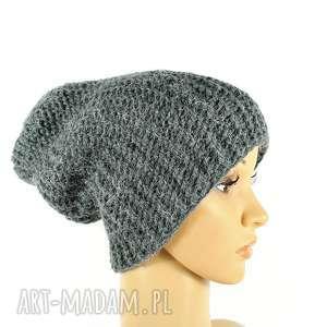 czapka szara krasnal unisex robiona na drutach, czapka, krasnal, unisex, przędza