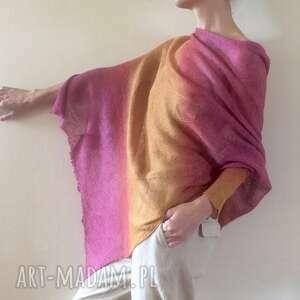 Asymetryczna lniana bluzka amarant&miód bluzki anna damzyn bluzka