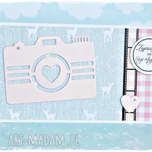 ręczne wykonanie scrapbooking kartki zaproszenie na sesję foto - sarenki