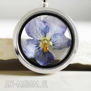 925 prawdziwy bratek srebrny łańcuszek - bratek, kwiat, natura, medalion, srebro