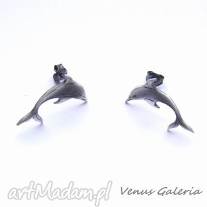 Kolczyki - Delfinki szare na sztyftach, bizuteria, srebro, kolczyki