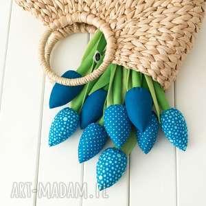 myk studio tulipany niebieski bawełniany bukiet, niebieskie kwiaty, kwiaty
