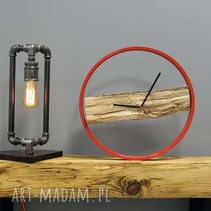 Zegar Wood Red, drewiany, loft, okrągły, duży, kolorowy, prosty