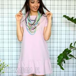 hand made ubrania sukienka z falbaną s/m/l/xl pudrowy róż