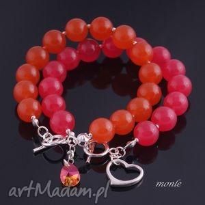 flaming pomarańczowa bransoletka monle, biżuteria jadeit, srebro