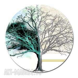 Obraz szklany drzewo dnia i nocy, średnica 70 cm nowoczesny