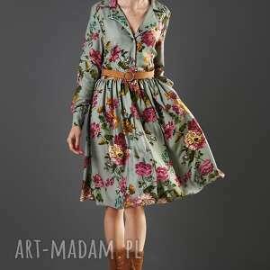 rozkloszowana sukienka w kwiaty paloma, sukienka, rozkloszowana, wiskoza, midi