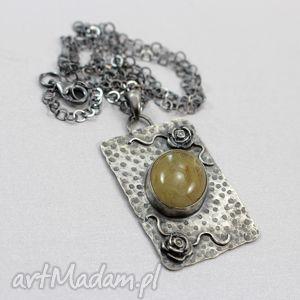 Kwarc z rutylem i srebro - naszyjnik, kwarc, złoty, rutyl, srebro, wisior, naszyjnik