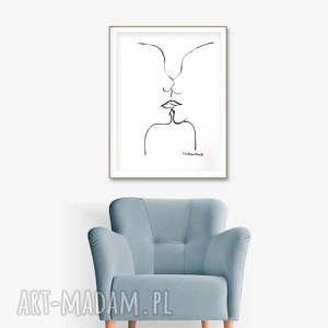 pocałunek 4, grafika czarno biała, 34 x 46, abstrakcja, elegancki minimalizm, obraz