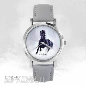 hand-made zegarki zegarek - czarny koń - szary, skórzany