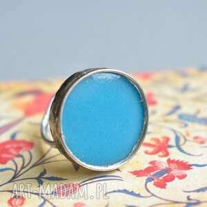 niebieski dysk - duży pierścionek ze szkłem, duży