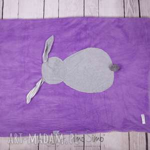 handmade pokoik dziecka kocyk króliczek (lawendowy z szarym króliczkiem)
