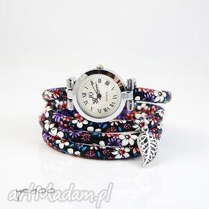zegarek, bransoletka - fioletowe kwiaty - owijany - zegarek, bransoletka, rzemień