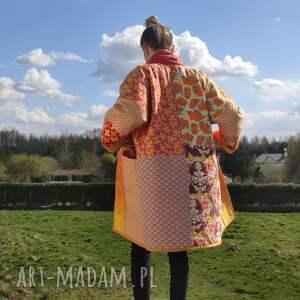 płaszcz patchworkowy długi z kieszeniami - w stylu boho, kimonowy - waciak, boho