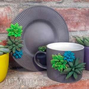 komplet sukulenty, rośliny, filiżanka spodek, komplet, prezent