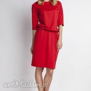 Sukienka, SUK129 czerwony, casual, luźna, gumka, sukienka