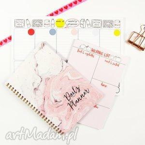 Zestaw planerów, Notes dzienny i tygodniowy, notes, planer, planner, marmur, zestaw