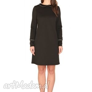 sukienka zippa, zamek, kołnierzyk, elegancka, elastyczna, kobieca, rockowa