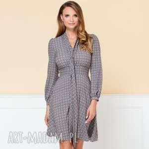 sukienka stella w drobny wzór r 36 - rozkloszowana-sukien, rozkloszowana