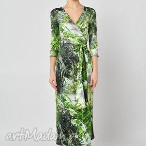 dżungla - kopertowa sukienka, kopertowa, jersey