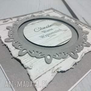 zaproszenie kartka szare drewno - ślub, urodziny, minimalizm, pamiatka, sesja