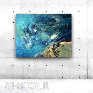 Ręcznie malowany obraz olejny,abstrakcja na płotnie, morze obraz, nowoczesny