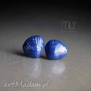 mini shell, muszla, ceramiczne, porcelana, sztyfty, wkrętki, błyszczące kolczyki
