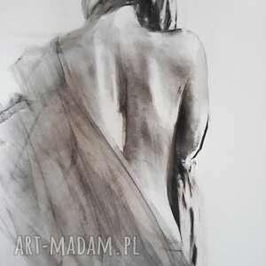 galeria alina louka rysunek węglem kobieta, duża grafika czarno biała