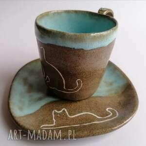 """Komplet """"kocie sprawy"""" ceramika evaart rękodzieło, z-kotem"""