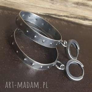 kolczyki srebrne koła, wiszące, srebro oksydowane, metaloplastyka
