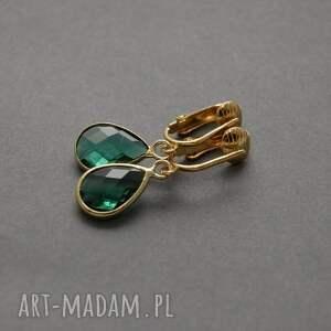 klipsy z łezką emeraldową, szmaragdowe, eleganckie, wiszące, wieczorowe, małe,
