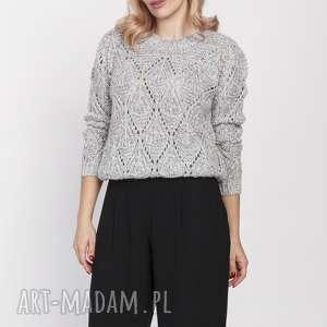 swetry ażurowy sweterek, swe185 szary mkm, sweter, ażurowy, modny, wzory