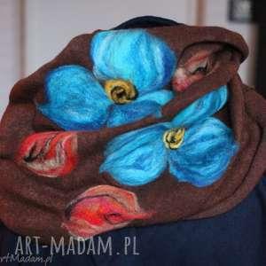 komin bohemian wełniany etniczny ludowy miły i ciepły handmade, szal,