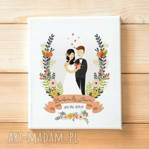 Obraz portret pary młodej 30x40 na płotnie ślub kreatywne wesele