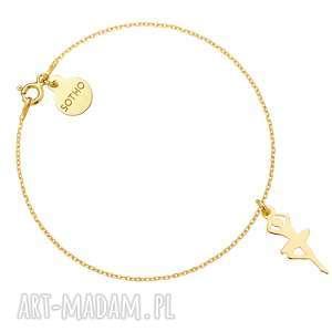 Złota bransoletka z baletnicą - ,bransoletka,żółte,złoto,baletnica,modowa,trendy,