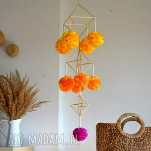 dekoracje dekoracja pająk, ludowa, folk, dekoracja, pompony, ze słomy