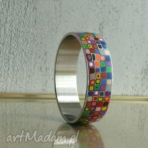 szeroka bransoleta ze stali, bransoletki, kolorowe, tęczowe, geometryczne
