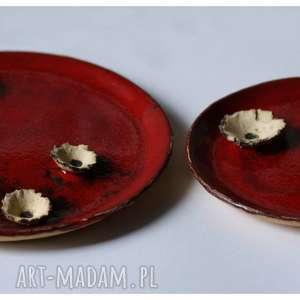 zestaw dwóch ozdobnych talerzy z makami, ceramika, talerz, mak